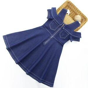 Girls-Dress-Casual-Cotton-Blue-Denim-Kids-Off-shoulder-Dresses-Age-3-12-Years