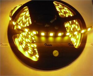 Yellow Waterproof 5M 300 Leds 3528 SMD LED Flexible Strip Light 12V DC Black PCB