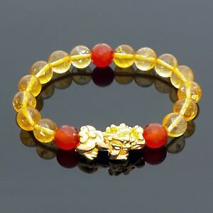 Image Is Loading Feng Shui Natural Citrine Crystal With Golden Pi