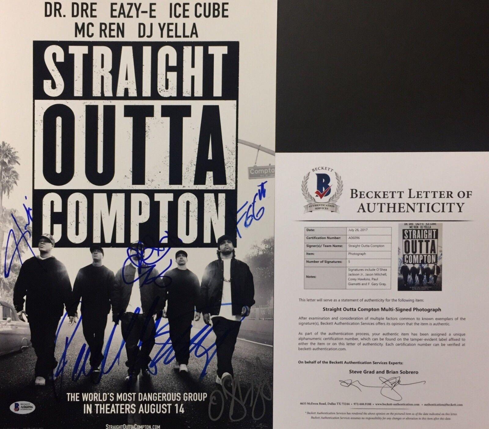 O'Shea Jackson Jr. Jason Mitchell Signed Straight Outta Compton 11x17 Photo BAS