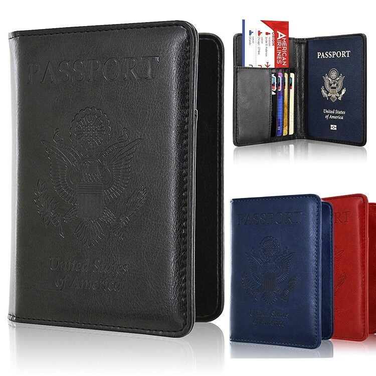 Men/Women's Leather Passport Case Wallet Holder Cover for Securely RFI... - s l1600