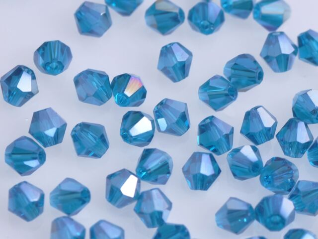 50pcs 6mm Bicone Faceted Crystal Glass Charms Loose Spacer Beads Peacock Blue AB