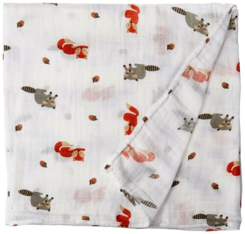 Lulujo Baby 100/% Cotton Muslin Swaddle Blanket Forest Friends 47 x 47-Inches