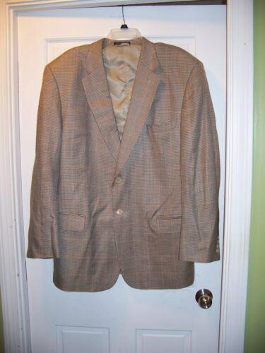 Bernhard Altmann Suit Jacket Size 42 R Gold Blue Brown Plaid Silk & Wool