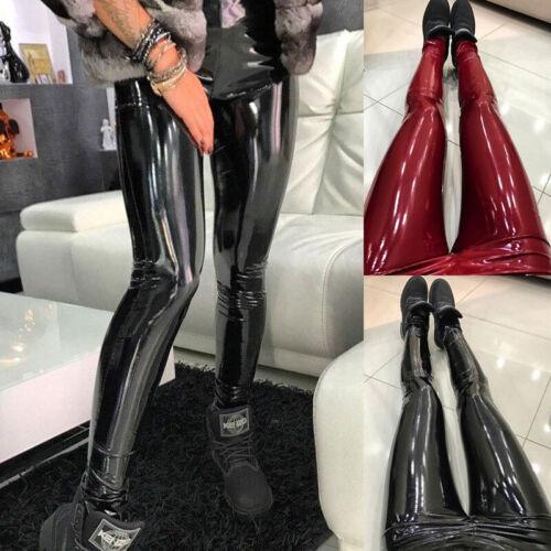 Femmes Extensible Brillant Mouillé Vinyle Cuir Taille Haute Skinny Pantalon Leggings.