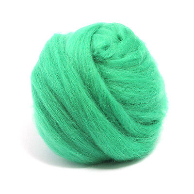 100g DYED MERINO WOOL TOP MINT GREEN DREADS 64's SPINNING FELTING ROVING