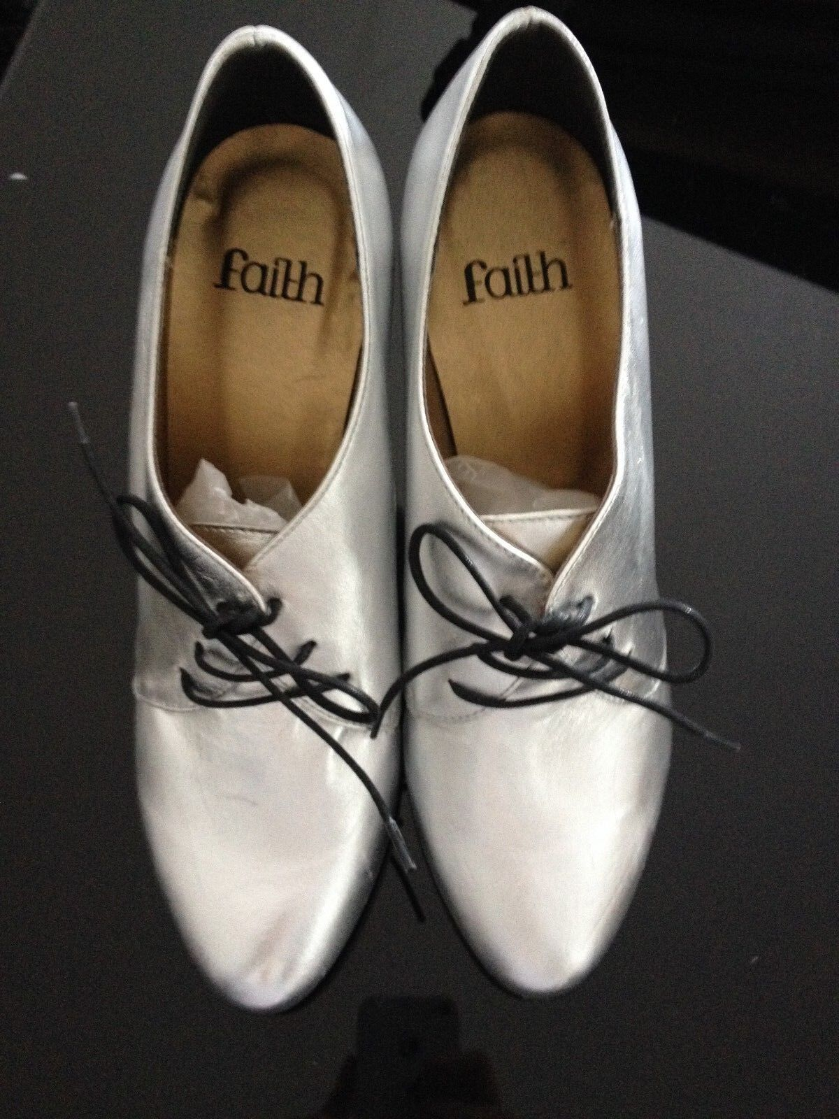 Faith with metallic silver shoe boots with Faith black laces size 7 Brand new 6e28c5