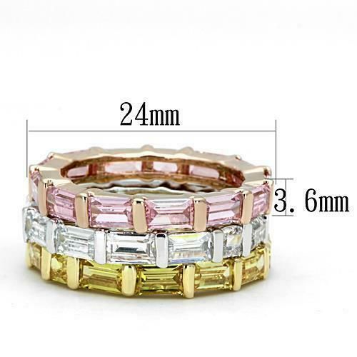 473  ETERNITY BAND SIMULATED DIAMONDS CITRINE PINK STACKING EMERALD CT RING