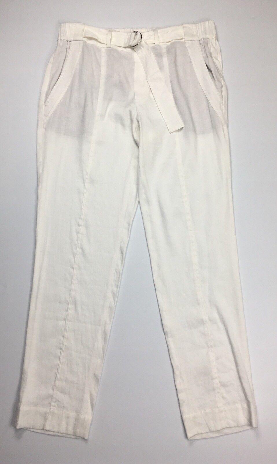 Vince NEW White Women's Size 10 Belted Slim Leg Linen Trouser Pants  275  H428