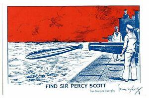 Antique-WW1-printed-postcard-Find-Sir-Percy-Scott-artist-signed-John-Wells