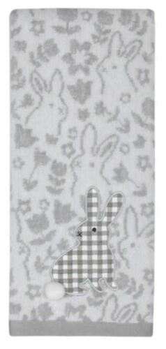 """Gray Plaid Bunny Kitchen Hand Towel w//adorable raised Cotton Tail 16/"""" x 25/"""""""