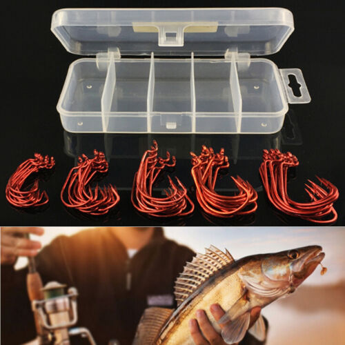 51 Pcs//Set Red Worm High Carbon Steel Fishing Hook For Texas Rig Soft Baitx od