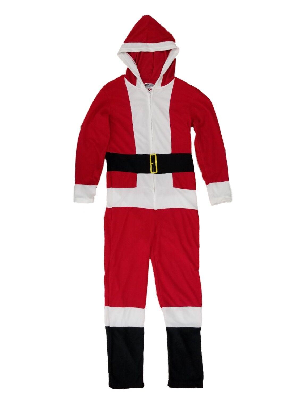Mens Santa Claus Hooded Fleece Union Suit Christmas Holiday Pajamas