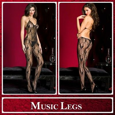 Bodystocking Nera Open Back Music Legs 1472 Sexy Toy Shop Lingerie Donna Intimo