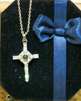 The Lord's Prayer Cross Necklace Small W/ Austrian Crystals Gift In Gift Box