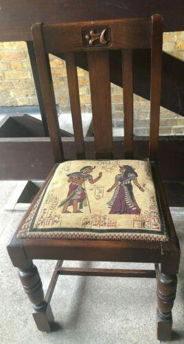 Designer pine wooden chair with Egyptian God design