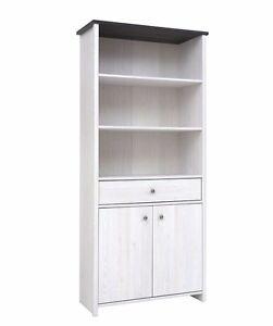 Image Is Loading Tall Bookcase Cabinet Shelving Unit White Washed Shabby