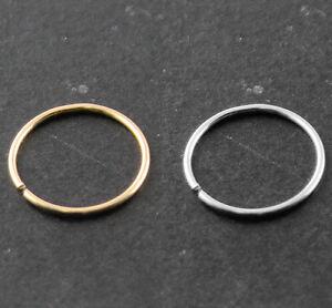 14k-Gold-Seamless-Nose-Hoop-Ring-Ear-Tragus-piercing-22G-0-6-mm-10-mm-Diameter