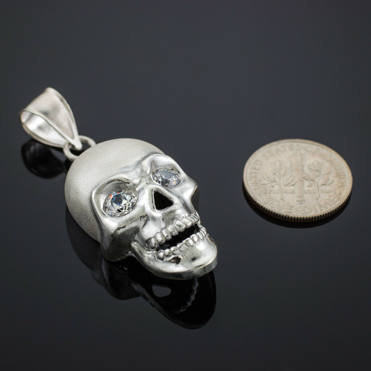 White gold Skull Pendant with Clear CZ Eyes Matte Finish
