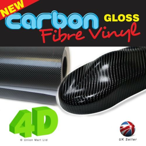 air libre 1520mm X 400mm Noir 4D gloss fibre de carbone vinyle wrap film bulle