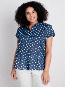 SEASALT-Cotton-Blouse-Shirt-Blue-Large-White-Polka-Dot-Rushmaker-Top