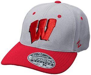 6e4e1b7d888 Image is loading NCAA-Wisconsin-Badgers-Zephyr-Athlete-Performance-Gray-Cap-