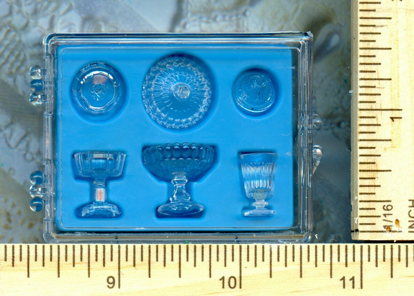 Dollhouse Miniature set of 3 Clear Candy Dishes and Lids in sturdy Box