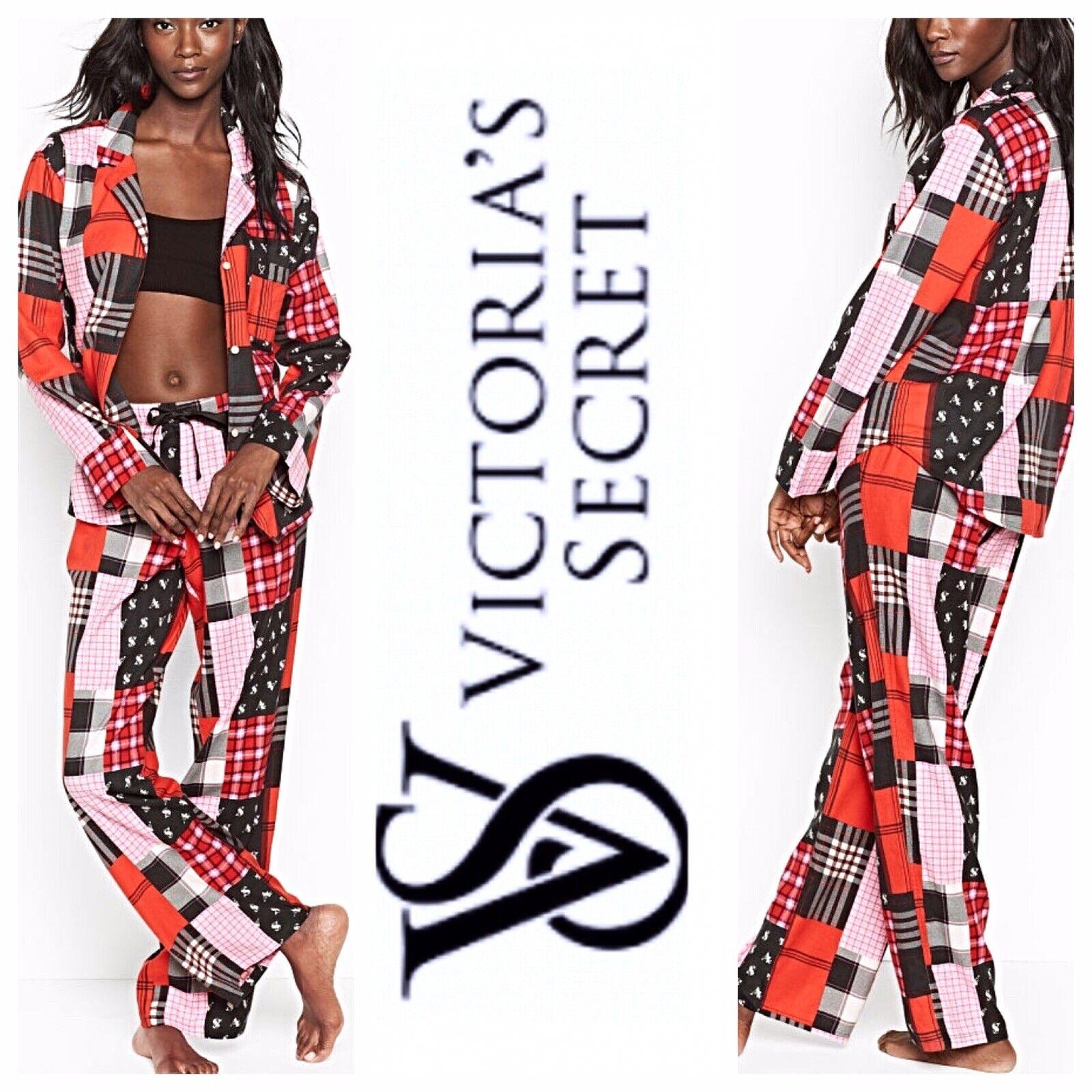 Victoria's Secret VS Logo Flannel Pajama Set Size L Regular