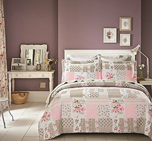 Luxury Poly Cotton Vintage Patchwork Bedspread Set With Pillow Shams 240 x 260cm