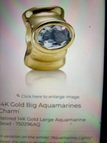 Retired PANDORA 14KT Aquamarine Big Aquamarine 750