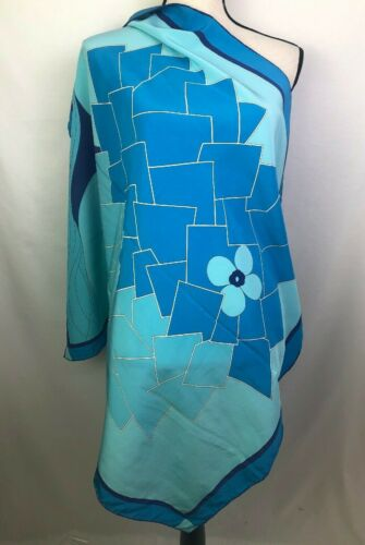 Vintage Madame Gres Paris 100% Silk Blue Tree Scar