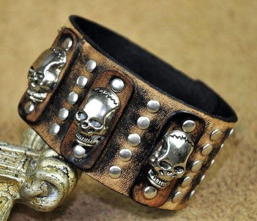 BS40 rock métal tête de mort clous vintage en cuir Bracelet Bracelet large manchette homme
