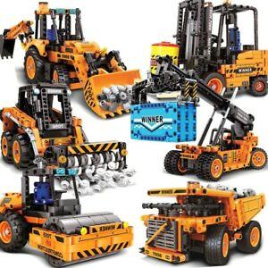 Blocs-Construction-Technic-Engins-Travaux-Camion-Grue-Chariot-Jouets-Enfant-Noel