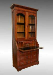 Antique Late 19th Century Burlwood Accented Walnut Drop Front