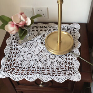 Vintage Hand Crochet Tablecloth Floral Lace Doily Square Table Cover White 16''