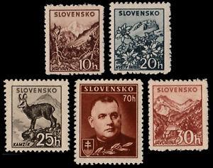 SLOVAKIA-1943-TISO-FLORA-FAUNA-NO-WATERMARK-SC-84-88-MNH-OG-SK068YC