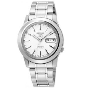 Seiko-5-SNKE49K1-Silver-with-White-Dial-Stainless-Steel-Men-039-s-Automatic-Watch