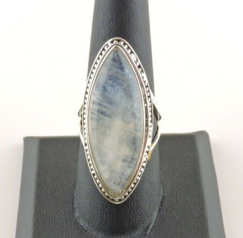 Sterling Silver 32 ct Marquise Moonstone Ring