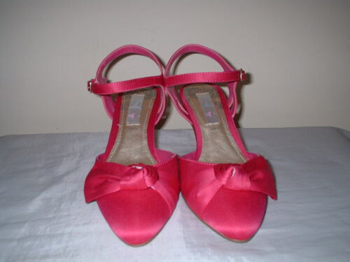 FUCHSIA PINK SATIN  ANKLE STRAP HEELS WEDDING FORMAL OCCASION QUALITY SHOES 4//37