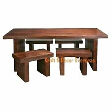 KraftNDecor Contemporary Wooden Dining Table with 4 Stools in Brown Colour