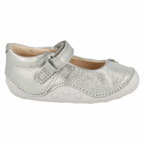 Clarks Girls Little Mia Silver Leather First Shoe Cruisers G /& H Fittings