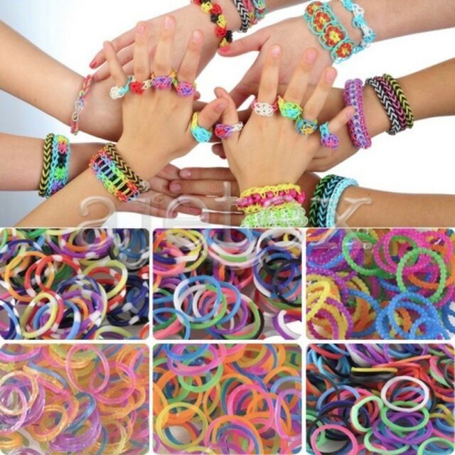 DIY Loom Refill Rubber Rainbow Band Bracelet Kid Craft 2400 Bands w// 100 S Clips