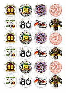 Image Is Loading 24 80TH BIRTHDAY CUPCAKE TOPPER WAFER RICE EDIBLE