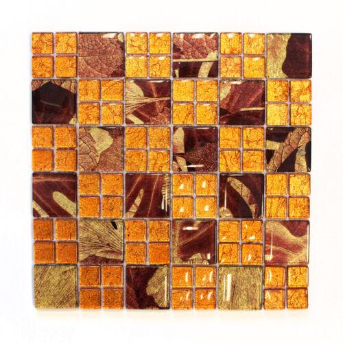 Mosaikmatte Kombination Crystal Sunrise orange glänzend Wand Boden Innen