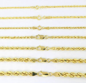 Real-14K-Yellow-Gold-1mm-5mm-Rope-Chain-Link-Necklace-Bracelet-Mens-Women-7-034-32-034