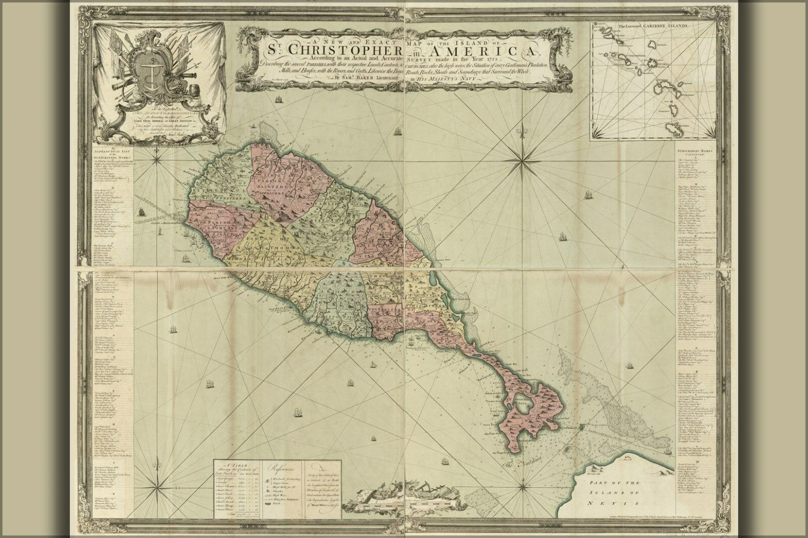 Plakat, Viele Größen; Karte von St.Christopher & Heiliger Kitts 1753
