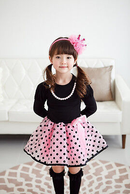 Christmas Baby Girls Princess Polka Dot Plaid Long Sleeve Party Full Fancy Dress