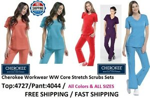 c354a1640ca Cherokee Workwear WW Core Stretch Scrubs Sets (Top:4727/Pant:4044 ...