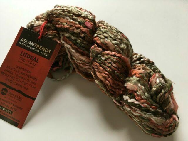 Aslan Trends Litoral #1377 Antique Rose Sage Greens Cream Mini Boucle Yarn 100gr