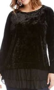 53790aea6a3 NEW Karen Kane Plus Size Velvet Crush Lace Inset Black blouse top 2X ...